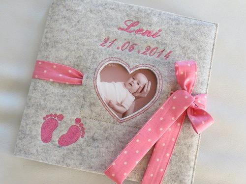 """Babytagebuch ♥ """"Name"""" ♥ Babyalbum ♥ rosa ♥"""