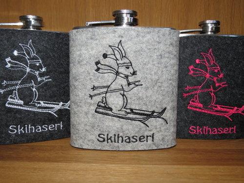 Flachmann mit Filzhülle Skihaserl