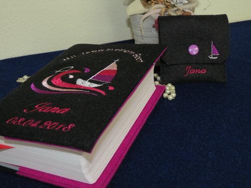 Gotteslob - Einband aus Wollfilz *Boot*pink - lila