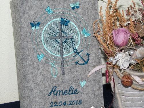 Gotteslob - Einband Wollfilz * Schmetterlinge * Modell Amelie