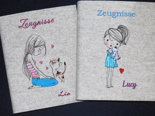Zeugnismappe ♥♥ Lia / Lucy ♥ Wollfilz ♥♥